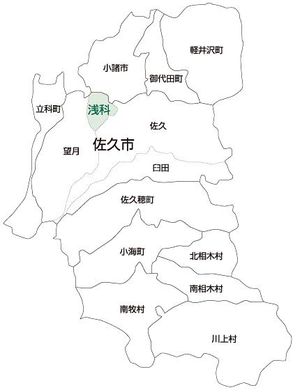 佐久市浅科地区の地図