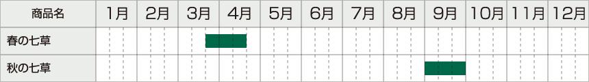 春の七草は3月下旬〜4月中旬、秋の七草は9月に採取します