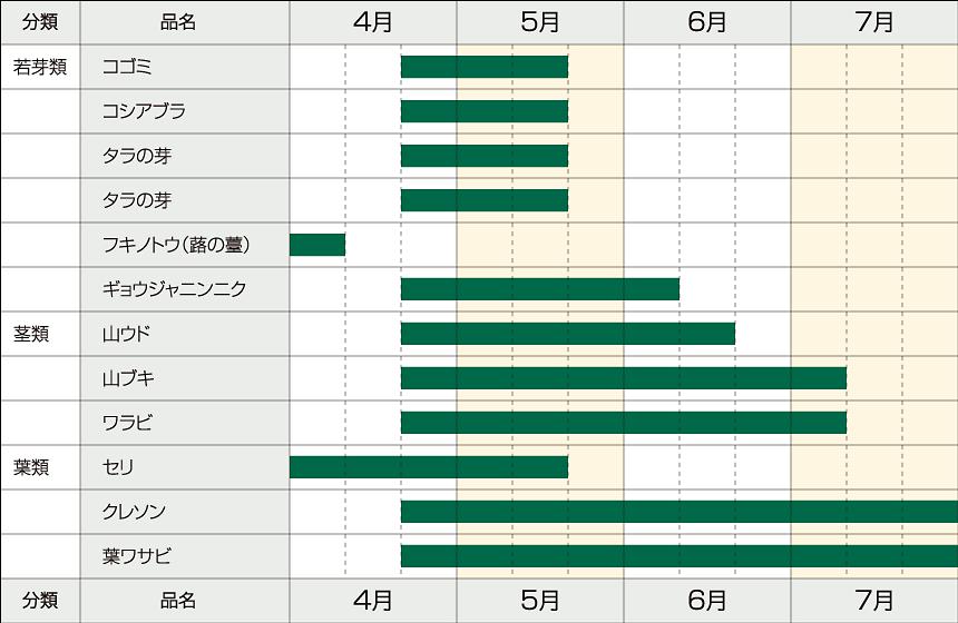 山菜の収穫時期一覧